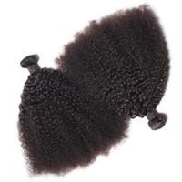bakire işlenmemiş brezilya kinky kıvırcık saç toptan satış-Brezilyalı Virgin İnsan Saç Afro Kinky Kıvırcık Dalga İşlenmemiş Remy Saç Örgüleri Çift Atkı 100 g / Paket 2 paket / grup Boyalı Ağartılmış Olabilir