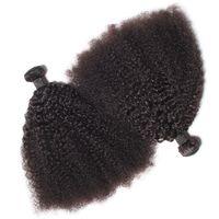 cheveux tisse brésilien remy bouclés achat en gros de-Vierge brésilienne de cheveux humains Afro Kinky Curly Wave Les cheveux remy non tissés tissent les doubles trames 100g / Bundle 2bundle / lot peuvent être teints blanchis