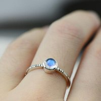 Wholesale Natural Blue Moonstone - moonstone jewellery 925 Sterling Silver Jewelry Natural Moonstone Rings For Women Blue Strong Bright Exquisite Christmas Gifts bague argent