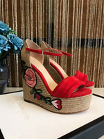 Wholesale Woven High Heel Shoes - 2017 NEW SUMMER STY HIGH-END CUATOM GENUINE LEATHER WITH SLOPE HIGH-HEELED FLOWER ROAE WOMEN ASNDALS ROPE WEAVE HEEL FASHION ROSE SHOES