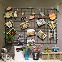 Ins Style Metal Mesh Grid Wall Fotos Grid shelf Fotos Porta-retrato Rack de armazenamento de ferro Home Bedroom DIY decorativo