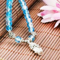 Wholesale 15inch Necklace - Fashion Accessories Crafts Blue Glass Beads Round DIY Beads Necklace Jasper Jade Stone Jewelry Making Design Gifts 15inch 6mm
