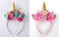 Wholesale Ear Horns - Multi Color Floral Unicorn Horn Ears Headbands, Unicorn Crown Golden Metallic horn Headba Flower Crown Unicorn Hot Sale 5pcs lot