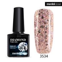Wholesale Beige Nail Color - Wholesale-Modelones Soak Off Diamond Gel UV Glitter Nail Gel Polish Pink Color Glitter GelPolish Need UV Lamp Nail Glue Enamel Sequins Gel