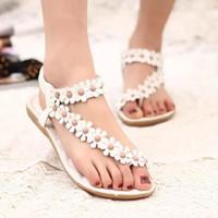 sandalias de tacón de flores blancas al por mayor-Flor blanca y beige talones planos sandalias de moda Bohemia zapatos de playa Zapatillas de mujer Sandalias Moda de niñas Zapatillas con alta calidad