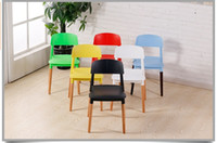 Wholesale European simple restaurant plastic chair red white green black yellow color furniture shop exhibition chair retail