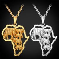jóias mulheres africanas banhado a ouro venda por atacado-África Elefante Colar Banhado A Ouro 18 K Para A Moda Na Moda Mulheres Mapa Africano Colares Pingentes Homens Jóias