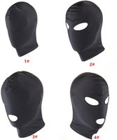 Wholesale Spandex Bondage Hood - Bondage Fetish Hood Mask BDSM Bondage Black Spandex Mask Sex Toys For Couples 4 Options To Choose