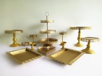 Wholesale crystal wedding cupcake tray set pieces gold cake stand cake bakeware set colors for choice