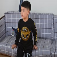 Wholesale Hood Sweater Boys - Boys All Match Fashion London Printing Of Eagle Pattern Round Neck Without Hood Black Or White Sweater