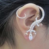 Wholesale New Ear Cuffs - Brincos 2016 New Fashion Accessories Rhinestone Ear Cuff Earrings Elegant Exaggerated Gekkonidae Lizard Hot Sale Stud Earring