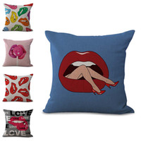 Wholesale red lips throw pillows for sale - Group buy Sexy Beauty Red Lipstick Lips Pillow Case Cushion Cover Linen Cotton Throw Pillowcases Sofa Car Decorative Pillowcover Drop Shipping PW693