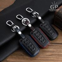 Wholesale Hyundai Elantra Car Accessories - Real Leather Car Key Covers Case For Hyundai Solaris I30 IX35 Tucson Accent Getz Elantra Sonata Key Fob Chain Cover Accessories