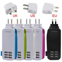 Préalable Novel Socket 5V 6A 6 ports USB Hub Rapid Travel Wall Chargeur Dock Adaptateur secteur US EU UK Plug pour iPhone 7 6 6s Samsung