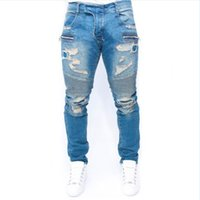 Wholesale Hot Low Hip Jeans - Wholesale free shipping street locomotive biker jeans hot bule slim ankle zipper skinny jeans men new arrival hip hop ripped jeans for men
