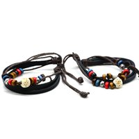 Wholesale 5pcs Hot Sale One Pair Of High Quality Retro Style Bead Pattern Wooden Leather Rope Bracelet Unisex daily party charms jewelry
