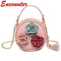 Wholesale Little Girls Pink Handbag - Encounter Christmas handbags for Childrens Kids Small Leather Shoulder Bags Little Baby girls Flower Purse Toddlers New Year Mini bags EN094