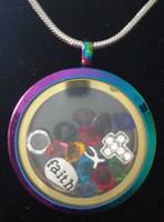 ingrosso catena della collana a forma di serpente-Marca OEM 316L Chirurgico Acciaio inossidabile Arcobaleno Multicolore a forma di tondo Magnete a pendente in vetro galleggiante Charm Locket Pendant Snake Chain Necklace
