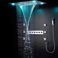 badezimmer dusche beleuchtung großhandel-Moderne Luxus-europäischen Stil Dusche-Set Große SUS304 5 Funktionen Duschkopf Thermostat Mischer Wasserfall Regenfall Bad Led Deckenleuchte