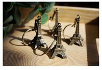 Wholesale Eiffel Tower Paris Key - France Paris Eiffel Tower keychain 5cm French Souvenir Paris Couple Lovers Key Ring Advertising Gift Keychain Bronze Decoration Key Holder
