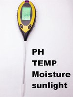 Wholesale Plant Moisture Tester - Wholesale- LCD Display 4 In1 Plant Flowers Soil Survey Instrument PH Meter Temperature Moisture Sunlight Tester For Agriculture