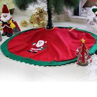Wholesale Luminous Long Fabric - Wholesale- Dia 95cm Santa Claus Skirt 2016 Creative Gifts Christmas Tree Skirts Halloween decorations Home Decor Non-woven Fabric supplies