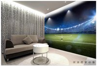 Wholesale Photo Field - Free shipping High Quality Custom 3d photo wallpaper murals wall paper 3 d hd giant football field setting wall decoration room wallpaper