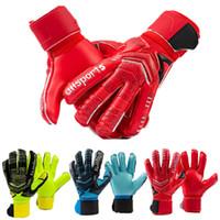 Wholesale 3mm Gloves - Professional 3mm Thicken Latex Football Goalkeeper Gloves Goalie Soccer Goal Keeper Guantes 5 Finger save Guard Non-slip Gloves