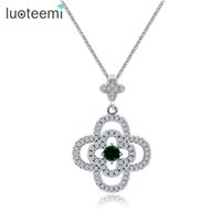 Wholesale Stone Inlay Pendants - LUOTEEMI New Fashion Jewelry Link Chain Round CZ Stone Inlay Double Cross Pendant Necklace for Women Girl Nice Birthday Gift