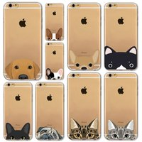 Wholesale Funny Iphone 4s - Newest Super Cute Phone Cases For iPhone 6 6s Plus 6Plus 4 4s 5 5s SE 5c Case Fashion Luxury Ultra Thin Funny Cat Dog Back Cover