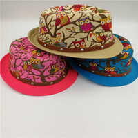 Wholesale Straw Owls - Children's Owl Fedora hat Printed Leather Buckle Jazz Summer Straw Sun Hat 3 Colors