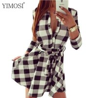YIMOSI Women Leisure Vintage Dresses Primavera Estate Autunno Plaid Check Print Shirt Dress Casual Mini Party Dress For WomenFPB827