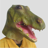 Wholesale Crocodile Halloween Mask - Hot!!!Crocodile Mask Animal Halloween Costume Theater Prop Novelty Latex Rubber Crocodile Head Mask Theater Prop Latex Rubber free shipping