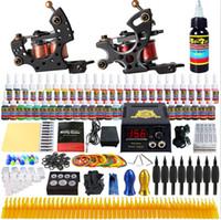 Wholesale Tattoo Starter Kits Free Shipping - US Free Shipping Solong Tattoo Starter Tattoo Kit 2 Machine Guns Shader Liner Power Pack Needle Grips Tips 54Bottles Inks TK211