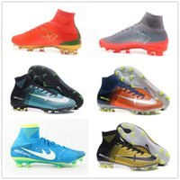 Wholesale Neymar Football Shoes - 2017 CR7 Mercurial Superfly V Football Shoes Champions Lock In Let Loose Forged for Greatness Neymar LIGHT AQUA Time To Shine Soccer Cleats