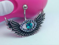 Nouveau Sexy Steel Crystal Belly Angel Wing Evil Eye Piercing du nombril Belly Button Ring Rhinestone Piercing Body Jewelry For Women
