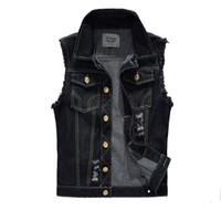 Wholesale Black Slim Fit Waistcoat - Wholesale- Vintage Design Men's Denim Vest Male Black Color Slim Fit Sleeveless Jackets Men Hole Jeans Brand Waistcoat Plus Size 6XL LA034