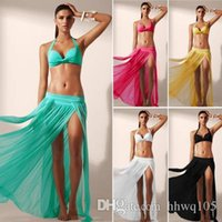Sexy Sheer Mesh Beach Skirt Swimwear Ladies Split Gauze Maxi Long Beach Dress Белый черный красный солнцезащитный крем Бикини Cover-Ups Beachwear ZZNF0205