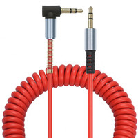 Wholesale Shaped Headphones - 2M 3.5mm Male to M Aux Cable Cord L-Shaped Right Angle Car Audio Headphone Jack Red