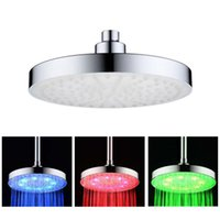 Wholesale Shower Spray Light - Six Inches Three Colors Lights Top Spray ABS Round LED Top Spray Temperature Control Three Colors Shower Top Spray