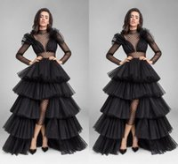 Wholesale Celebrities Low Cut Dresses - 2017 new design illusion long sleeve black ruffle chiffon dress low pure neck cut formal celebrity dress PROM dress RE4785 waist high
