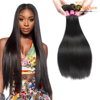 Wholesale Natural Hair Products Wholesale - Gaga Queen hair Product Brazilian Hair Straight 3Bundles High quality Grade 7A 100% virgin human hair Weaves Dyeable 100g pcs free shipping