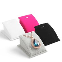 Wholesale Display Show Jewelry - Velvet Pendant Necklace Chain Show Organizer Rack Jewelry Display Stand Holder 5 Colors
