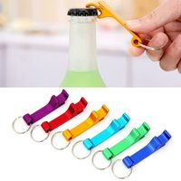 Wholesale Can Opener Key Chain - Portable Colorful key chain metal aluminum alloy keychain ring beer Can bottle opener Openers Tool Gear Beverage
