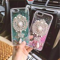 Wholesale Pearl Bow Phone Cases - hot sale phone case colorful gittering sequins flow liquid diamond pearl bow pendant transparent tpu case for iphone 7 7s plus 6 6s plus