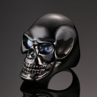 New Arrival Gothic Men's Skull Rings Punk Moto Fashion Black Skeleton Biker Ring Cool Man Finger Rings Bijouterie de mode