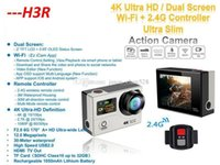 Wholesale Image Controller - Original 4K Ultra HD H3R WIFI Action Cameras 2.4G Remote Controller Mini waterproof Sport Camera Video Camcorders 1080P 170 Lens 2.0 LCD