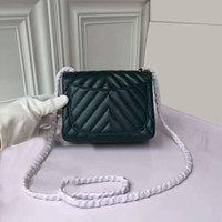 Wholesale Burgundy Cross Body Bag - 2017 lambskin leather caviar flap bag woman with copper hardware chain handbags woc shoulder bag army green min size 17cm 5