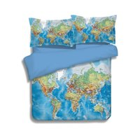Blue World Map Printing Literie Sets Twin Full Queen King Size Tissu Coton Literie Couvre-lits Couettes de couette Oreiller Shams Comforter 3 / 4PC