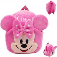 Wholesale Small Kids Canvas Bags - School Season Brand Cartoon Cute Sweet Pink Minnie Mouse Girls Kids Baby Backpack Plush Schoolbag Small Shoulder Bag Toddler
